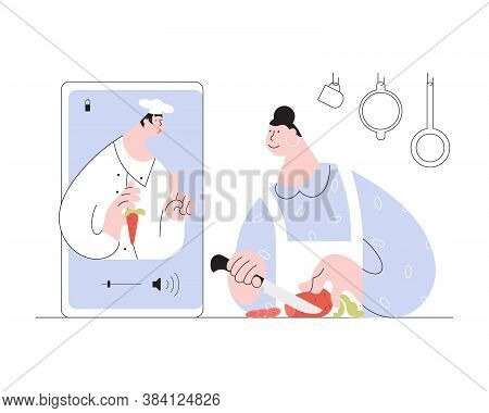 Online Cooking Course Concept. Woman Has Video Streaming Online Cook Training On Her Smartphone. Che