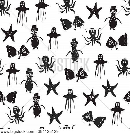 Vector Black And White Aquatic Anthropomorphic Characters Seamless Pattern Background