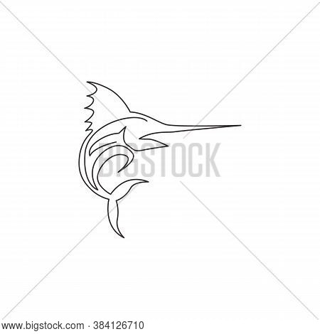 Single Continuous Line Drawing Of Large Marlin For Marine Company Logo Identity. Jumping Swordfish M
