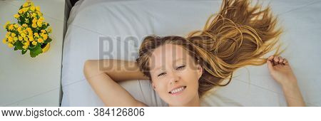 Banner, Long Format Sleep Without A Pillow. Young Woman Sleeping In Bed Without A Pillow. Portrait O