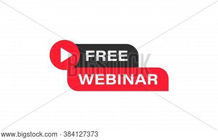 Free Webinar Banner. Online Lesson, Seminar, Course, Training. Distance Education. Vector On Isolate