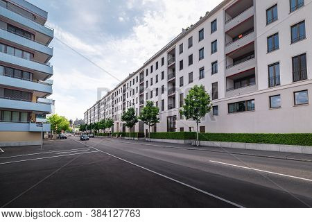 Residential Modern Apartment Buildings Of Zurich City, Switzerland, Perspective Urban Scenery View O