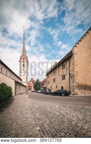 Cityscape Old Town And Historic Buildings Of Stein Am Rhein City, Switzerland, Beautiful Ancient Chu