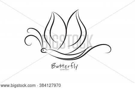 Butterfly logo vector template for cosmetic, beauty, spa. Black and white hand drawn butterfly illustration. vintage style, Butterfly outline, Butterfly logo design, spa logo, beauty logo