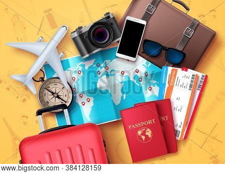 Travel And Tour Vector Design. Travel And Tourism Elements With World Map For Location And Destinati