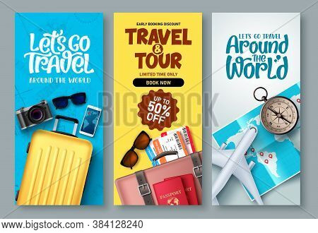 Travel Poster Set Vector Background. Travel And Tour With Promo Text And Traveling Elements For Tour