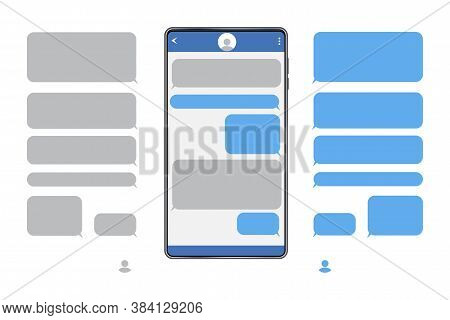 Chat Messages On The Phone. Screen Of The Messenger. Text Box. Sms Correspondence In The Phone. Vect