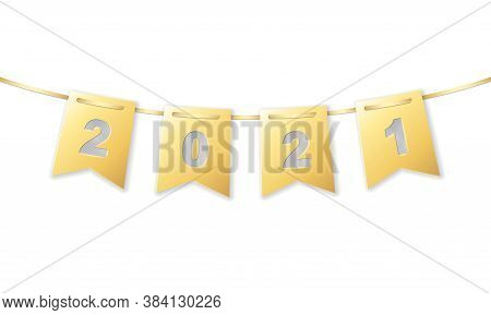 2021 Date On Gold Gradient Colored Hanging Paper Rectangular Small Flag Garland, Stock Vector Illust