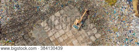 Aerial Top View Photo From Flying Drone Of Large Garbage Pile. Garbage Pile In Trash Dump Or Landfil