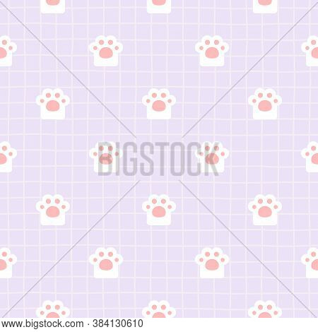 Adorable Cat Paw Footprint Seamless Background Repeating Pattern, Wallpaper Background, Cute Seamles