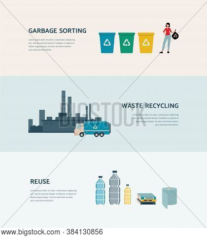 Garbage Sorting And Reusing - Ecology Poster With Recycle Process