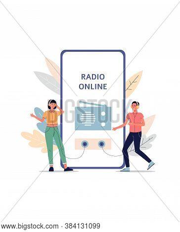 Online Radio App Listeners Concept - Cartoon People Listening To Broadcast