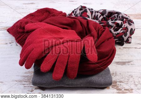 Woolen Clothes For Woman. Womanly Accessories, Gloves, Shawl, Sweater, Cap. Warm Clothing For Autumn