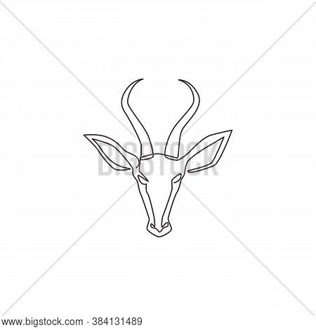 One Continuous Line Drawing Of Adorable Antelope Head For Company Logo Identity. Horned Gazelle Masc