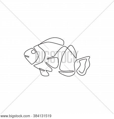 Single Continuous Line Drawing Of Beauty Clownfish For Aquatic Logo Identity. Beautiful Anemonefish