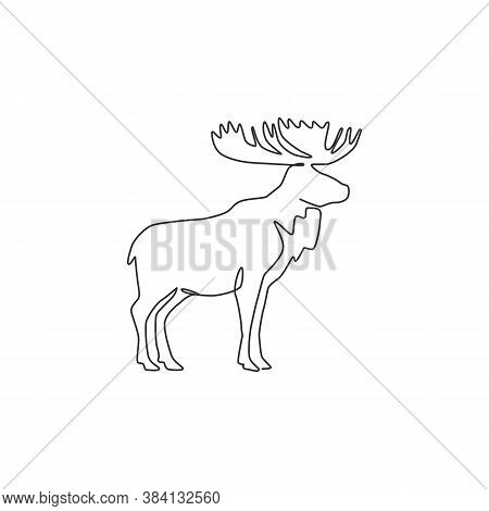 One Single Line Drawing Of Big Moose For Logo Identity. Mammal Animal With Horn Mascot Concept For N