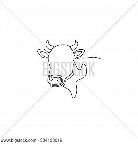 Single Continuous Line Drawing Of Plump Cow Head For Farming Logo Identity. Mammal Animal Mascot Con