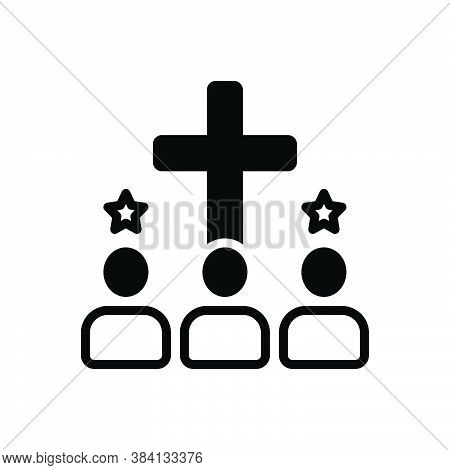 Black Solid Icon For Acquire Enlist Achieve Religion Faith Creed Worship People