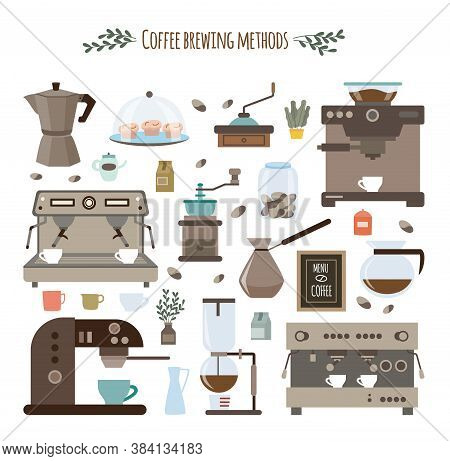 Coffee Brewing Methods And Utensils Set Of Flat Vector Illustrations Isolated.