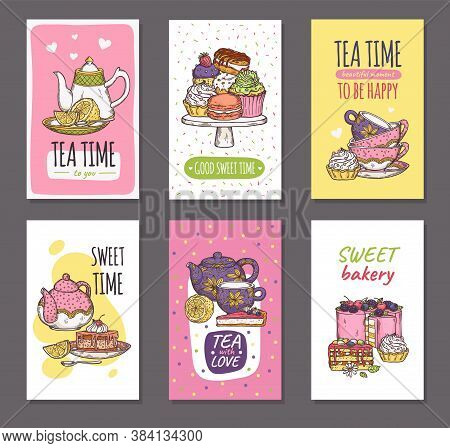 Tea And Dessert Time Set Of Cards With Cakes Sketch Cartoon Vector Illustration.