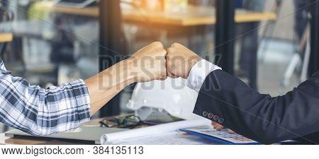 Banner Template Partner Business Trust Teamwork Partnership. Industry Contractor Fist Bump Dealing M