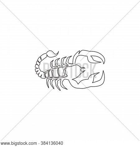 Single Continuous Line Drawing Of Deadly Scorpion For Company Logo Identity. Lethal Arthropod Mascot
