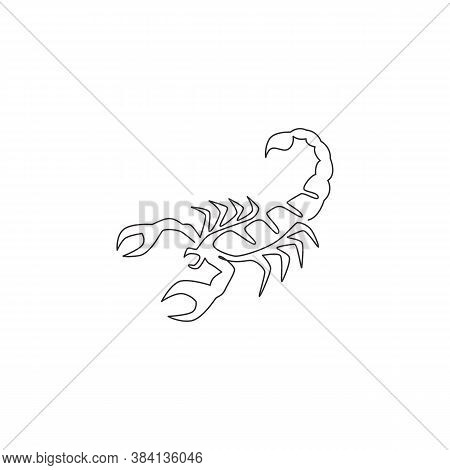 One Single Line Drawing Of Venomous Scorpion For Logo Identity. Dangerous Insect Mascot Concept For