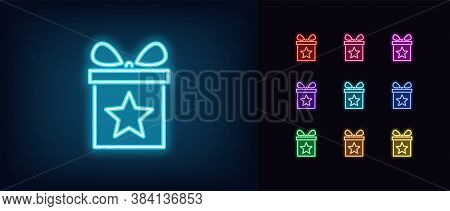 Neon Gift Box Icon. Glowing Neon Present With Star, Magic Gift In Vivid Colors. Referral Bonus, Birt