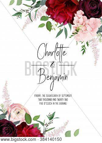 Classic Luxurious Burgundy Red Peony, Dark And Blush Ranunculus, Dusty Pink Hydrangea, Astilbe, Euca