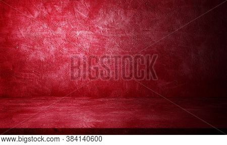 Empty Space Studio Room Of Plaster Concrete Grunge Texture Background With Red Lighting Effect For U