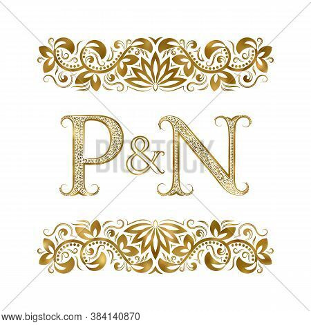 P And N Vintage Initials Logo Symbol. The Letters Are Surrounded By Ornamental Elements. Wedding Or