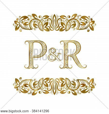 P And R Vintage Initials Logo Symbol. The Letters Are Surrounded By Ornamental Elements. Wedding Or