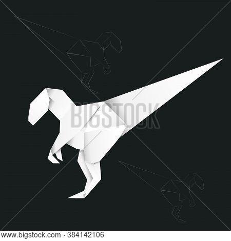 Abstract Origami Velociraptor, White Paper Folding Dinosaur Design.