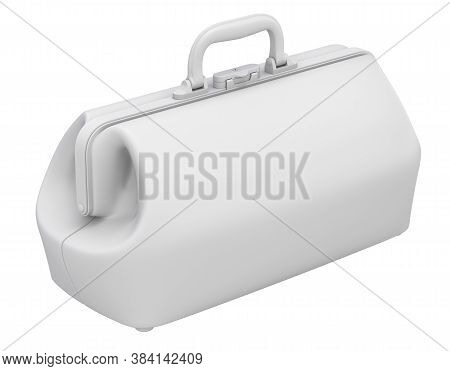 Clay Render Of Retro Doctor Bag Isolated On White Background - 3d Illustration
