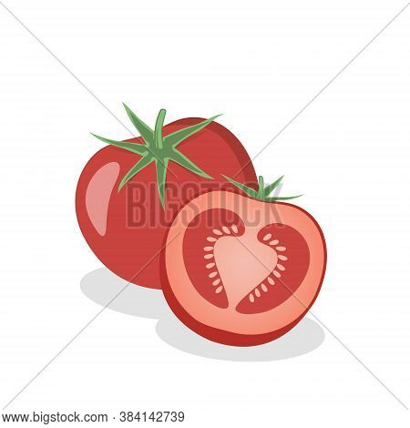 Fresh Tomatoes. Vector Sliced Ripe Tomatoes. Isolated Over White Background.