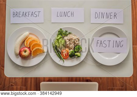 Intermittent Fasting During Dinner. Intermittent Fasting Concept, Top View