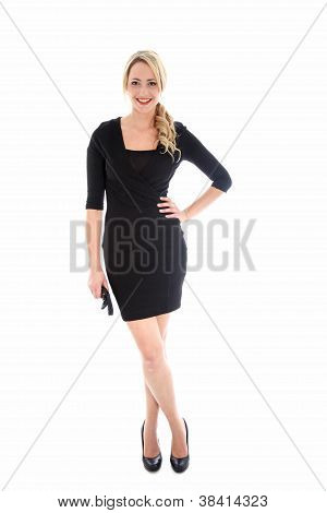 Stylish Blonde Woman In Black Dress