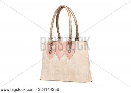 Leather Elegant Women Bag. Fashionable Female Handbag, Isolated