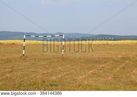 Abandoned Soccer (football) Field. Soccer Goal Post