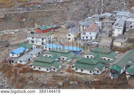 Kedarnath Temple Aerial View After Kedarnath Disaster 2013. Heavy Loss To People & Property Happened