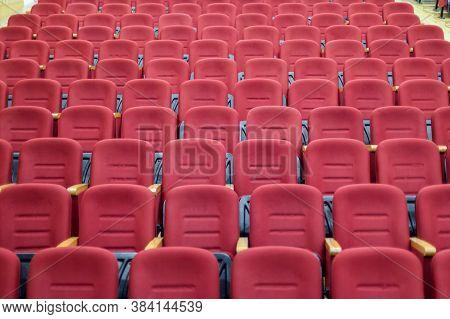 Empty Red Cinema Or Theater Seats. Velvet