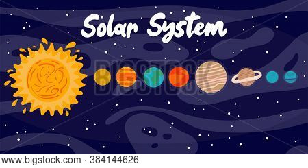 Cartoon Solar System. Heavenly Science Poster With Space Objects. Colorful Planets On Space Backgrou