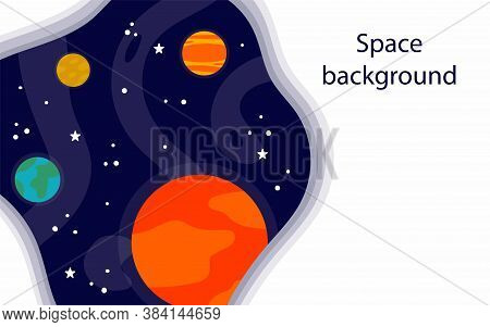 Cartoon Space Background. Heavenly Science Poster With Space Objects And Copy Space. Colorful Planet