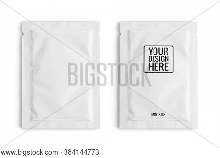 Blank white sachet packet isolated on white. Small pack sachet mockup. 3d rendering
