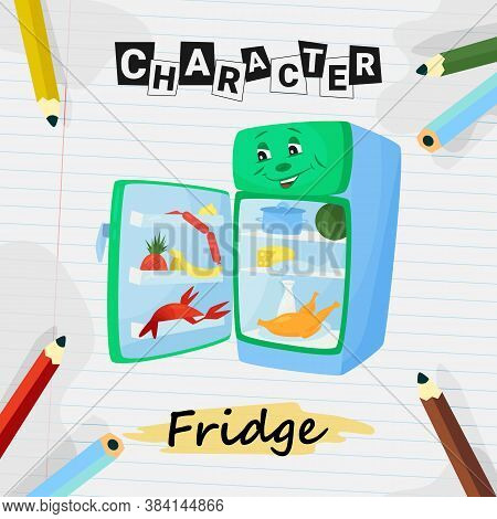 Cartoon Character Funny Open Refrigerator With Food, Vector Illustration. Happy Refrigerator With Ma