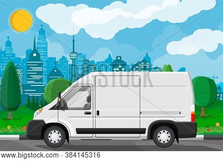 White Delivery At Cityscape Background. Express Delivering Services Commercial Truck. Concept Of Fas