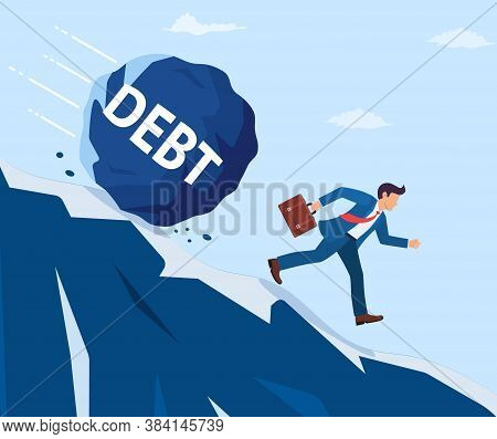 Businessman On Mountain Running Away From Big Debt Weight. Business Man With Briefcase And Wrecking