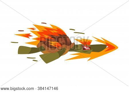 Fire Fast Turtle, Tortoise Animal Cartoon Character Speed Leader Vector Illustration On White Backgr