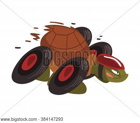 Fast Turtle On Wheels, Funny Tortoise Animal Cartoon Character Vector Illustration On White Backgrou