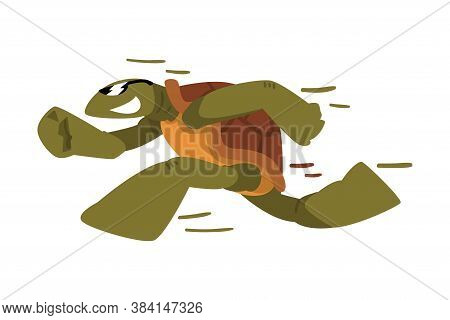 Fast Turtle, Funny Tortoise Animal Cartoon Character Running On Its Hind Legs Vector Illustration